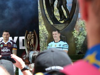 Cronulla captain Paul Gallen (right) and Broncos captain Darius Boyd at the Sydney launch of the NRL's 2017 season. The teams kick off the season next week.
