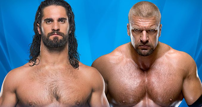 Seth Rollins, left, meets Triple H in a WWE fight in Orlando. Ex WWE promo site. 31 march 2017