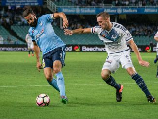 alex brosque of sydneyFC shakes off a Melbourne Victory defender.Photo by jaime castaneda for SFC - 10march2017.