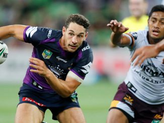 Billy Slater eludes Anthony Milford on his return from injury - broncos v storm at AAMI - 16march2017. NRL Photo by Grant Trouville.