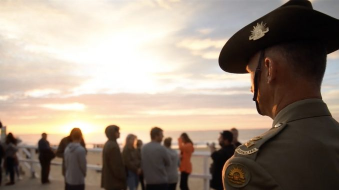 Lieutenant-Colonel Adrian Harding, Commanding Officer of the Army Reserve's 8th Engineer Regiment, attended the 2017 Anzac Day Dawn Service at Nobbys Beach, Newcastle. Lt-Col Harding has served in Iraq and with the peacekeeping commission in East Timor. Photo by James Mott.