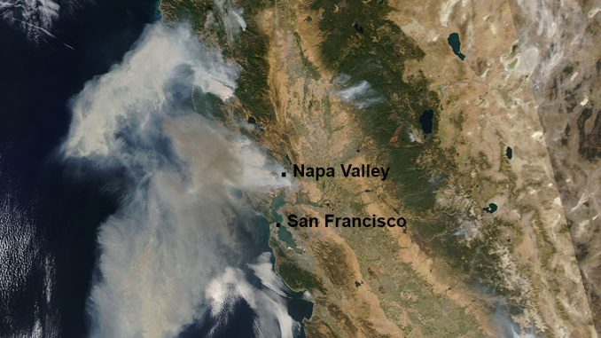 Satellite image of California shows smoke billowing from the wildfires raging across large parts of the state. 13Oct2017