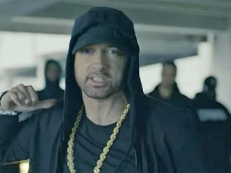 Eminem in his 4-minute gig in which he slagged Donald Trump at the 2017 BET awards. 12oct2017.