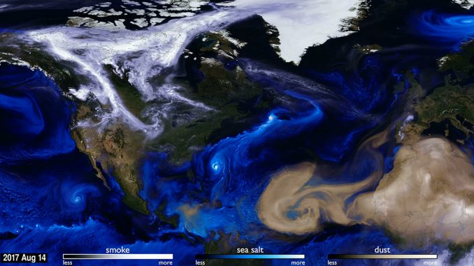 NASA satellite image showing salts, smoke and dust distribution by wind in the atmosphere. With ellie campbell story 30 November 2017