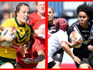 Jillaroo Isabelle Kelly left will be hoping to evade the attention of the Kiwi Fern's powerful back-rower Teuila Fotu-Moala in Saturday's women's Rugby League World Cup Final. NRL photos. 30 November 2017