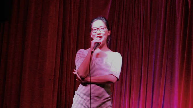 Comedian, Michele Lim, performing at Wolf Comedy's monthly stand-up show. Story and photos by Erika Jackson.