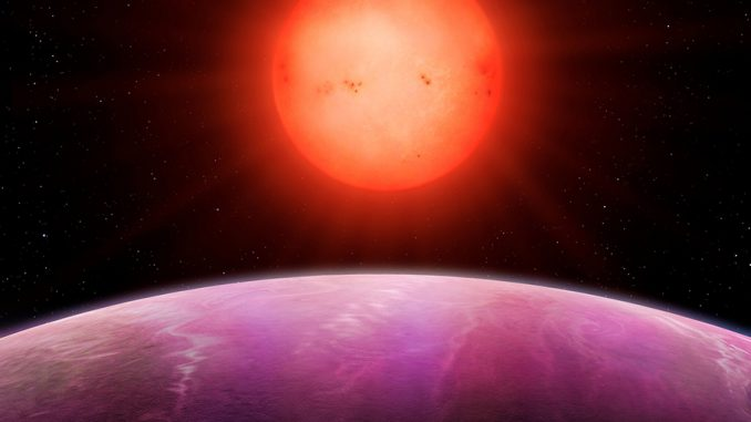 Artists impression of the gas giant discovered orbiting a dwarf star. Image from Warwick University Press release. 2nov2017