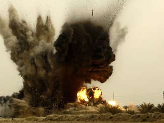 GBU-38 bombs detonate in Iraq. (US Air Force photo by Master Sgt. Andy Dunaway)
