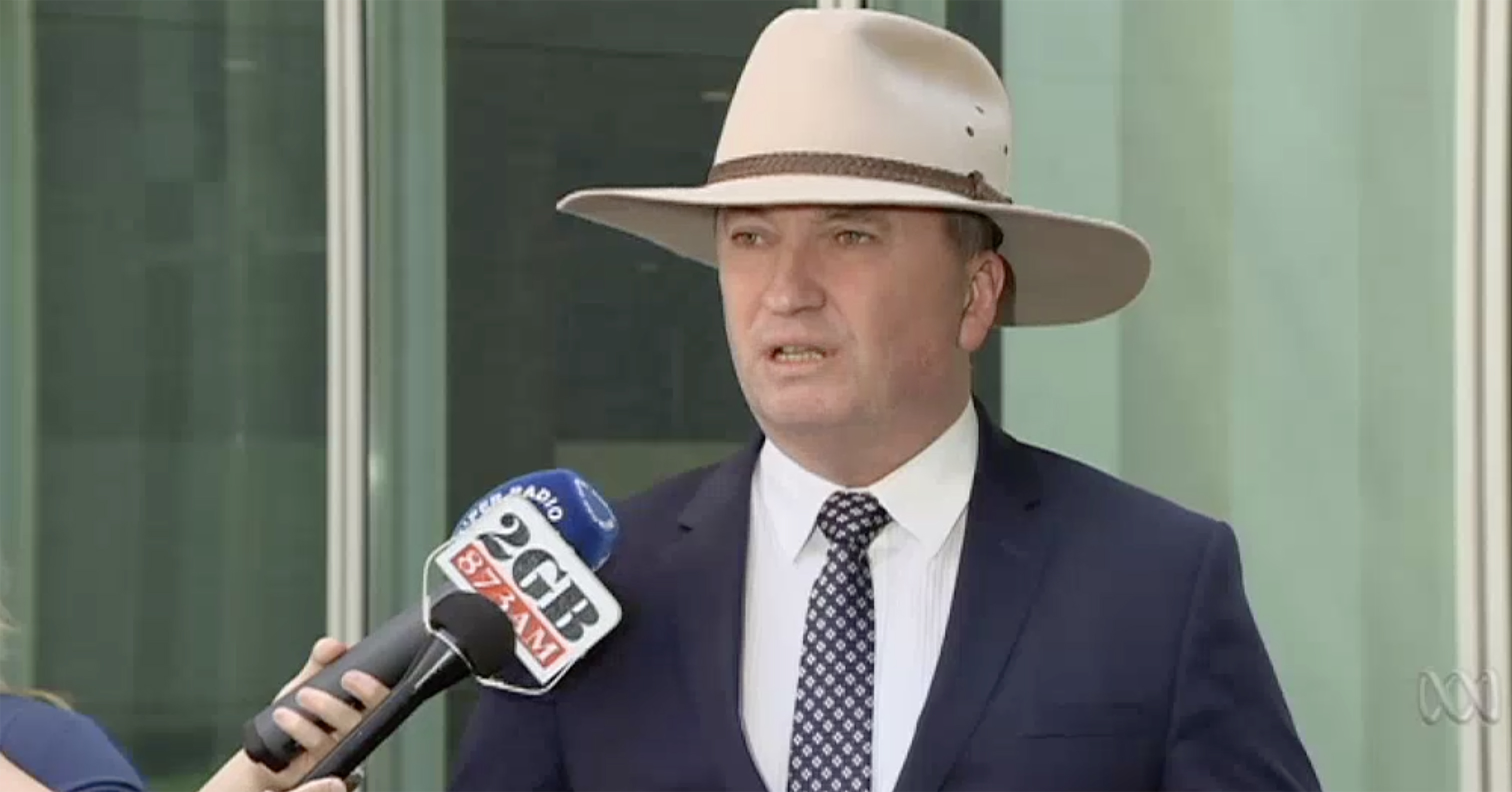 Barnaby Joyce rebukes the PM for criticising his behaviour in office. Screengrab ex ABC news broadcast. 16th Feb 2018