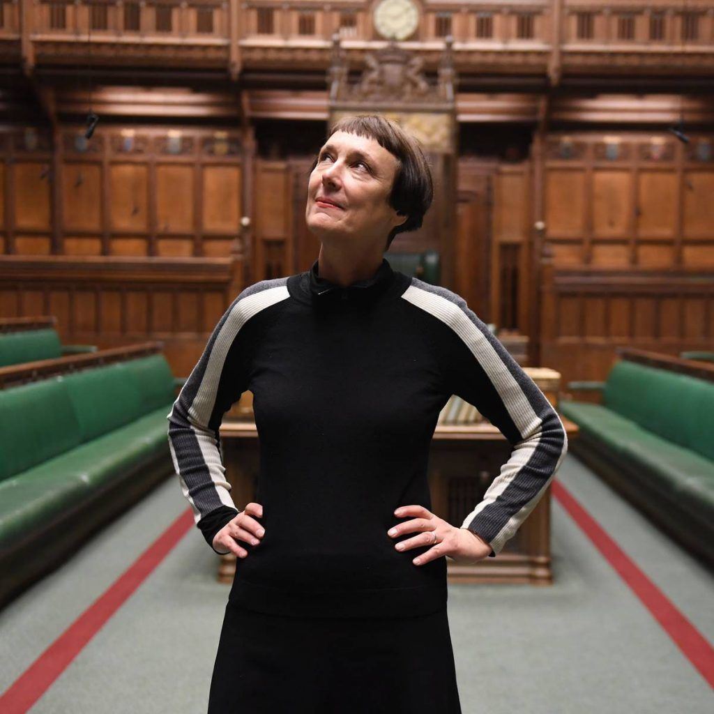 Cornelia Parker in the House of Commons where the video recording of 'Left Right & Centre' was filmed. Source: MCA